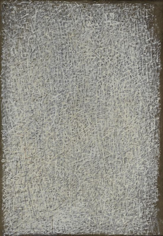 Cristallizzazioni, 1944, Tempera su pannello.Iris & B. Gerald Cantor Center for Visual Arts, Stanford University, Mabel Ashley Kizer Fund, Donazione Melitta e Rex Vaughan, e Modern and Contemporary Acquisitions Fund © 2017 Mark Tobey / Seattle Art Museum, Artists Rights Society (ARS), New York.
